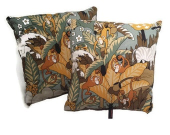 Vintage Jungle Monkey Pillows (Set of 2)