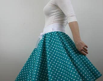 Rockabilly skirt, turquoise polka dot skirt, summer skirt, 1950s skirt, swing skirt, full circle skirt, elastic waist skirt, knee length