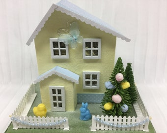 Easter Glitter Putz House - Yellow with Blue Roof