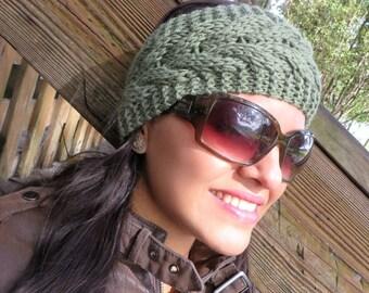 Boho Winter Headband, Women Knit Warm Headband, Wide Yoga Headband, Green Knit Headband, Ear Warmer, Knitted Turban, Warm Crochet Headband