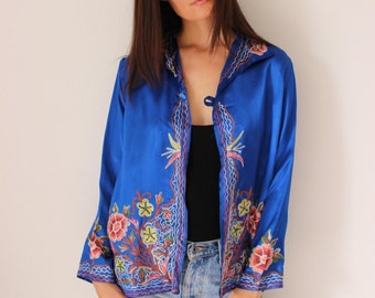 Vintage Asian Inspired Cobalt Blue Satin Jacket with Floral Embroidery