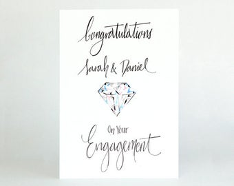 Personalised Engagement Card - Engagement Card - Engagement - Engaged Card - Engagement Congrats - Congratulations Engagement Card