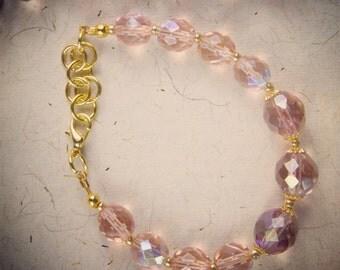Pink Czech Glass Bracelet