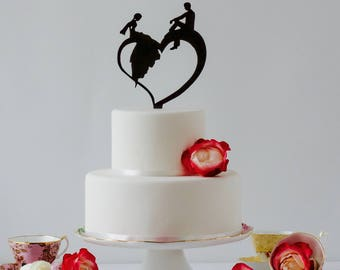 Bride and Groom, Silhouette Cake Topper, Love Cake Topper, Heart Cake Topper, Wedding Cake Topper, Boho Wedding, Boho Cake Topper,