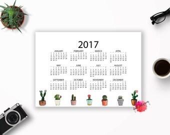 75% OFF! Cactus Calendar, Cactus 2017, Printable Calendar 2017, Year Calendar 2017, Digital 2017 Calendar, Printable 2017, Calendar 2017