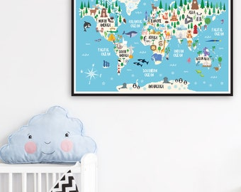 Animal World Map Print, Kids World Map Poster, Nursery World Map, Large World Map Nursery Art, Kids Room Decor, Playroom Map, Kids Map Art