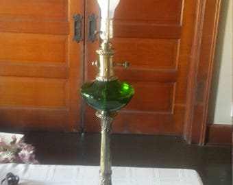 Emerald Green Glass and brass Lamp with marble base