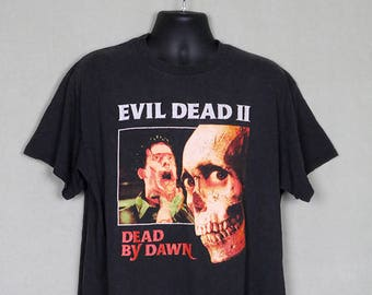 Evil Dead 2 II, vintage T-shirt, black tee shirt, zombie horror movie, Sam Raimi, Bruce Campbell, Army of Darkness