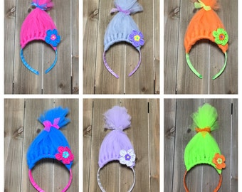 Trolls Headband- Poppy Headband; Troll Hair; Troll Hair Headbands; Trolls Party Favors; Troll Accessories; Girls Headbands; Troll headbands