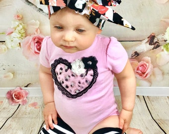 Piper Headwrap- Headwrap, Flower Head Wrap; Flower Headwrap; Flower Headband; Striped Headband; Striped Headwrap; Baby Headband; Baby Bows