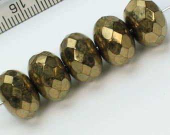 6  Gold Bronze fire polished 9 x 14 czech beads