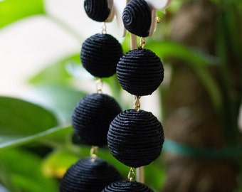 Bonbon Earrings #Les Bonbons #Silk thread ball drop earrings #Lightweight earrings #4 drop balls