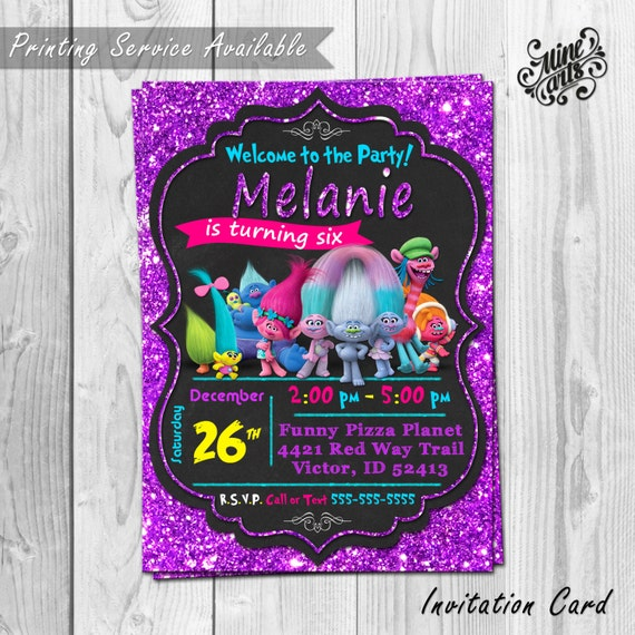 e5608822 Trolls Photo Birthday Invitation · Dreamworks Trolls Birthday Invitation