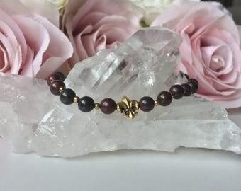 Fleur De Lis Red Jasper Healing/Meditation Beaded Bracelet
