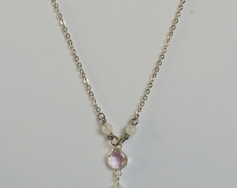 Rose Quartz and Bush Pink Glass Pendant Necklace