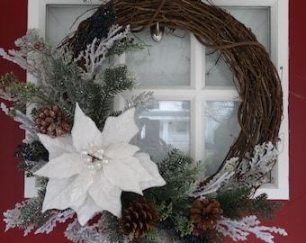 Winter White Poinsettia Wreath