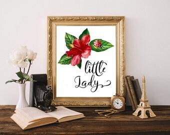 Little Lady, ladybug printable, ladybug print, floral nursery decor, girls nursery, kids room wall art, baby girl nursery decor