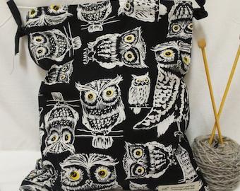 Owl Knitting Bag, Crochet Bag, Yarn Bag, Project Bag, Tote bag, Drawstring bag, Knitting Tote, Sock knitting bag
