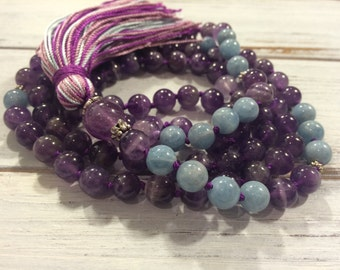 108 mala beads, Meditation Beads, Buddhist Prayer Beads, Amethyst & Aquamarine Mala, For Calming, Stress Relief, Authenticity, Spirituality