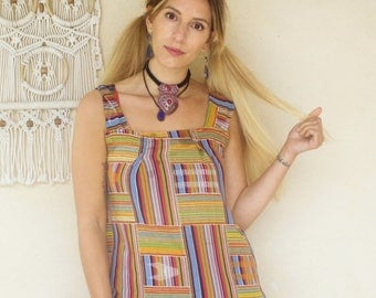 Vintage African Print Loose Pinafore Top