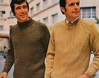 mens sweaters knitting pattern pdf 4ply or DK jumpers polo neck round neck Vintage 60s 32-44 inch mens knitting patterns pdf download