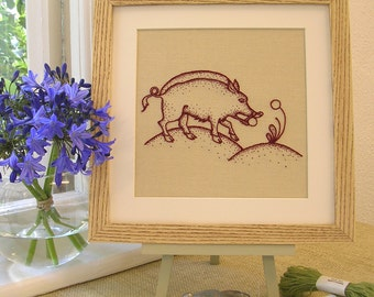 "Crewelwork Embroidery Kit ""Heritage Boar"""