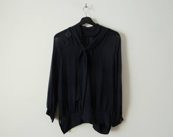 Balmain Navy blue silk shirt with attached silk scarf. Made in Italy
