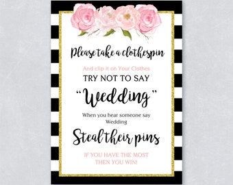 Please take a clothespin / Don't say wedding / Bridal shower game / Gold Glitter / Black and white stripe / Blush floral / DIY Printable