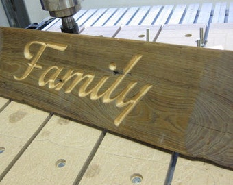 Carved Reclaimed Barn Wood Family Sign