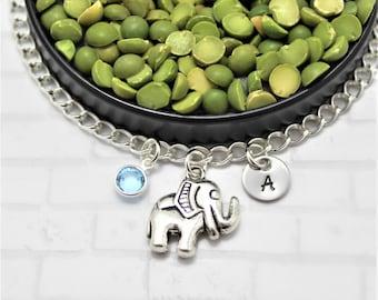 Elephant Bracelet - Initial Disc - Swarovski Crystal - Animal Lover Gift - Customized Elephant Bracelet - African Jewelry