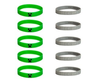 10 Minecraft Bracelets Green or Gray - These Silicone Wristbands are great as Party Favors, Stocking Stuffers, Goody Bags, gifts