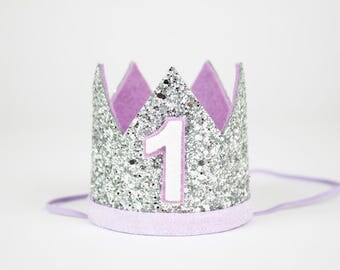 First Birthday Crown | First Birthday Outfit Girl | First Birthday Hat | Birthday Glitter Crown | 1st Birthday Hat | Silver + Purple 1