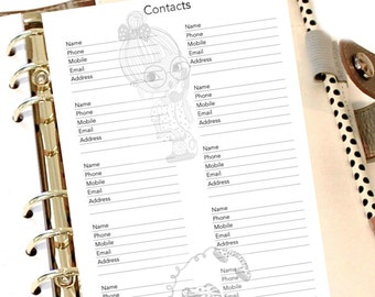 CONTACTS & ADDRESS BOOK, A5 Planner Insert, Planner Girl Insert, Phone Numbers, Emails, Filofax Refill,  Contacts Refill, Address Insert