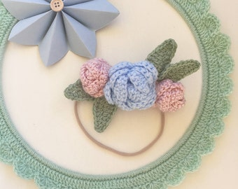 Made to order - Crochet Rose Floral Foliage Headband