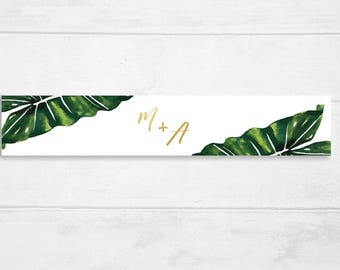 O9 | Printable Modern Tropical l Invitation Belly Band | Gold | Hawaiin | Belly Band |