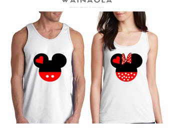 Wainaola Mickey and Minnie Head Couple Tank Top Couple Clothing Matching Shirts Gifts for Couples Pärchen Look Matching Couple Cute Disney