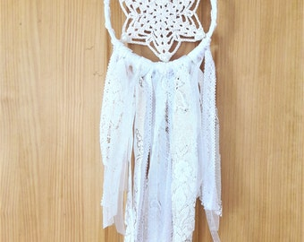 White dreamcatcher, wedding dreamcatcher, wall hanging, gifts for her
