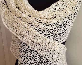 Lacy Cream Crochet Shawl - Long Rectangular Off White Crochet Wrap