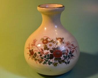 Vintage Satsuma Mini Earthware Vase Floral Print