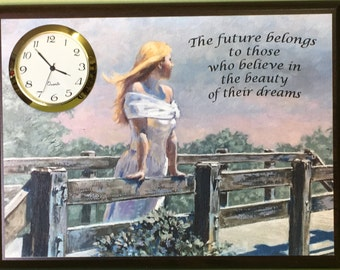 Girl on Bridge - JS 101 DC - Desk Clock