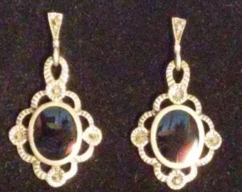 Black Onyx & Marcasite Earrings