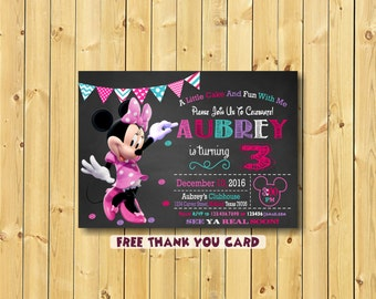Minnie Mouse Invitation, Minnie Mouse Party Invitation, Minnie Mouse, 3rd birthday, free thank you card, Minnie Mouse Birthday Invitation