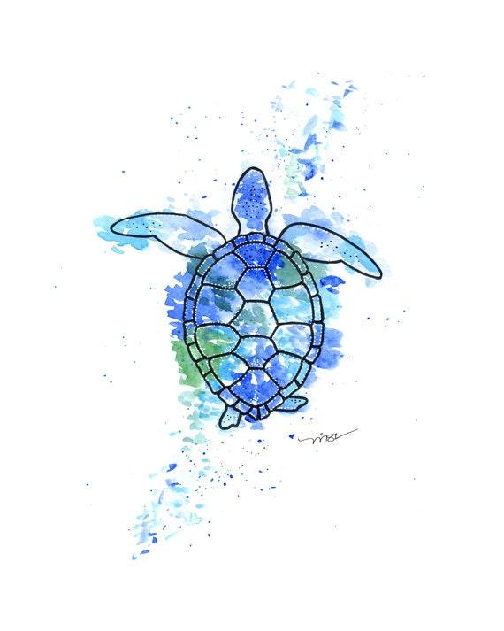 Turtle Watercolor Print - Sea Turtle Art - Blue Turtle Modern Abstract Print - Sea Ocean Nautical Art Wall Decor