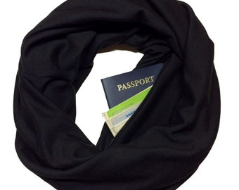 Back in Black | Double Knit Infinity Scarf With Hidden Pocket