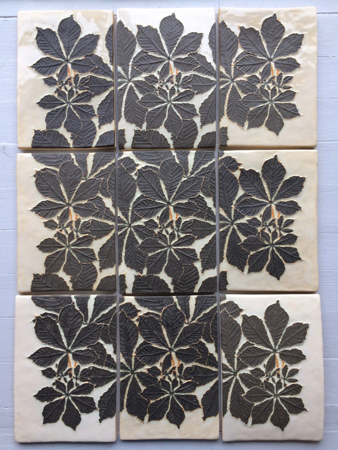 Chestnut leaves tiles 9 tile panel handmade ceramic relief zoom doublecrazyfo Images