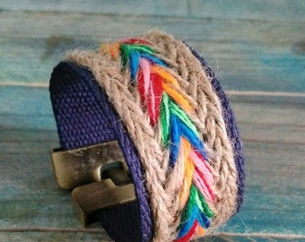 Fabric and woven hemp cuff