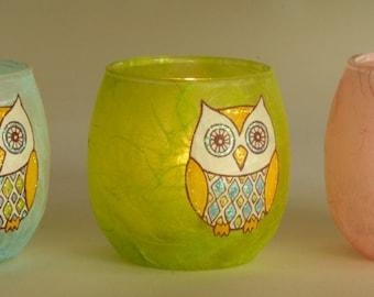 Green owl candle holder - tealight holder- spring green strawsilk with a cute sparkly owl - lovingly made by Karen Keir Strawsilk Glassware
