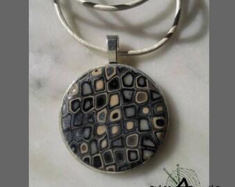 Necklace clay polymer grey retro