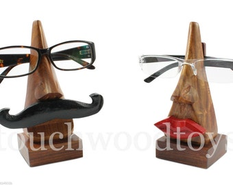 Glasses holder stand set of handmade wooden his & hers glasses frames gift idea