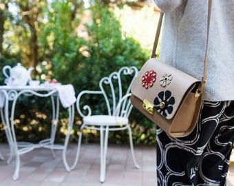 MiniBag Beige Flowers Shoulder bag-women's handmade leather shoulder bag, customizable-women's handmade leather bag